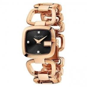 Gucci Ladies Square diamond set dial bracelet watch, Rose gold