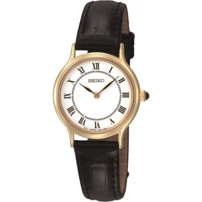 Seiko Watches Ladies Gold Plated Black Leather Watch