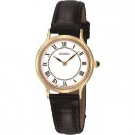 Ladies Gold Plated Black Leather Watch