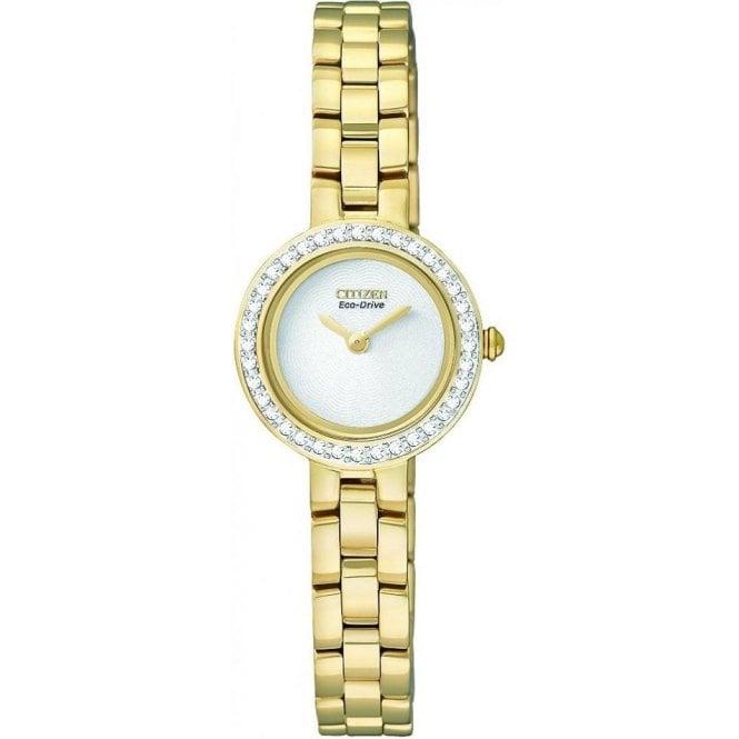 Citizen Watches Ladies Gold Plated & Swarovski Crystal Set Bezel Eco Drive