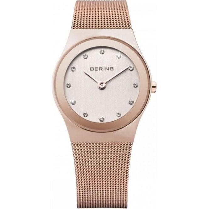 Bering Watches Ladies rose plated Bering quartz on bracelet, 12927-366