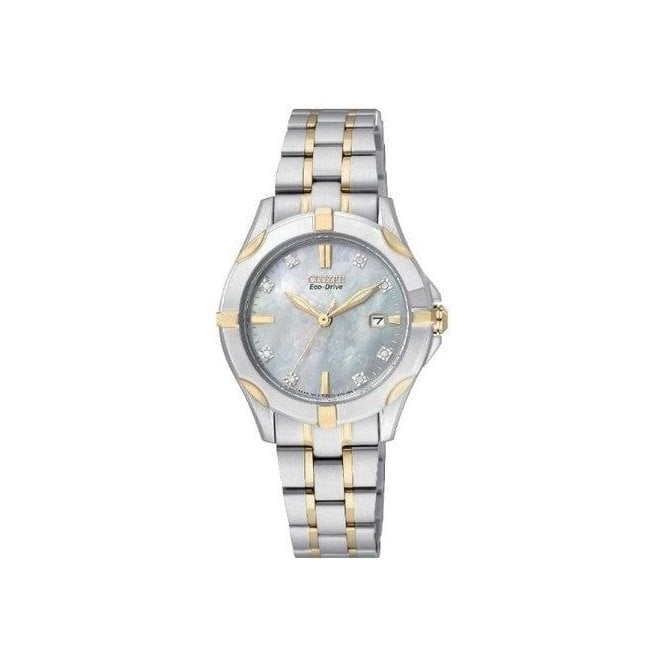 Citizen Watches Ladies Silhouette Diamond Set Blue Mother of Pearl Watch
