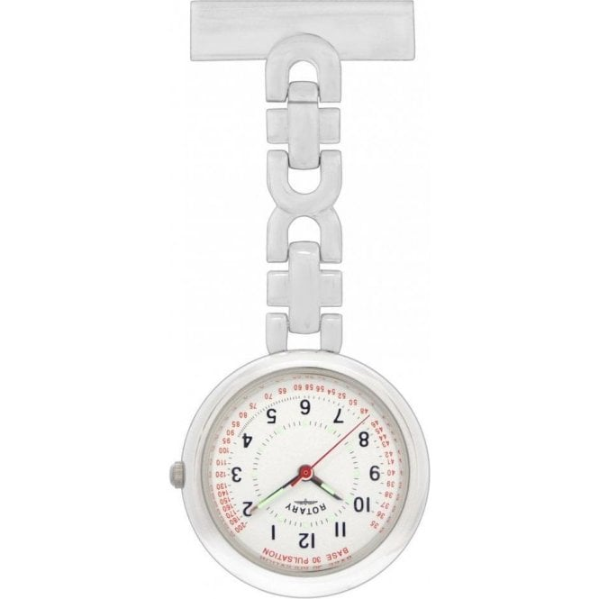 Rotary Watches Ladies stainless steel Rotary nurses fob with white arabic dial