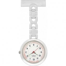 Ladies stainless steel Rotary nurses fob with white arabic dial