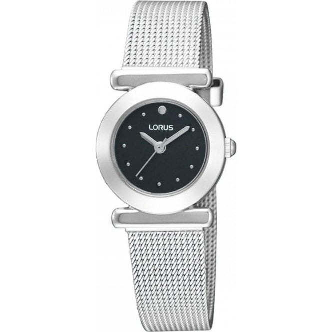 Lorus Ladies steel Lorus black dial with mesh bracelet. RRS51RX9