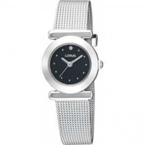 Ladies steel Lorus black dial with mesh bracelet. RRS51RX9