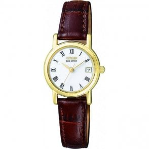 Ladies Yellow Gold Plated Eco-Drive Watch EW1272 01B