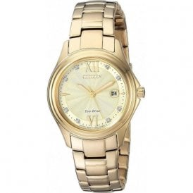 Ladies yellow PVD Citizen Eco Drive FE1132 84P
