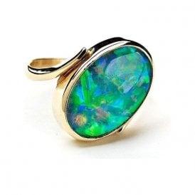18ct Yellow Gold Leisha Design Opal Oval Twist Ring