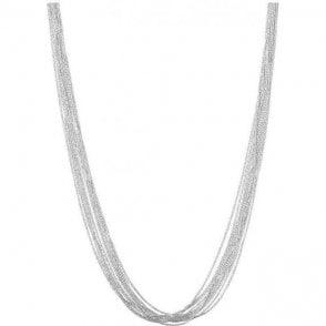 Essentials Sterling Silver Silk 10 Row Necklace 45cm