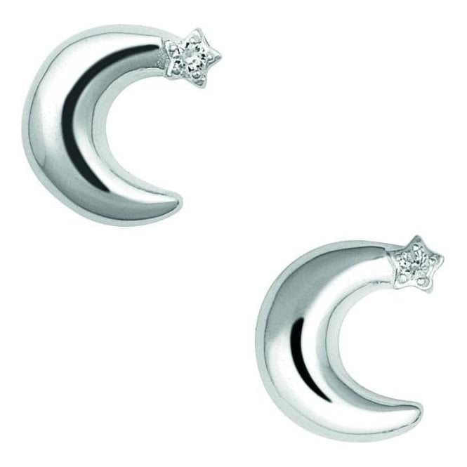 Links Of London Silver & White Sapphire Over the Moon Earrings