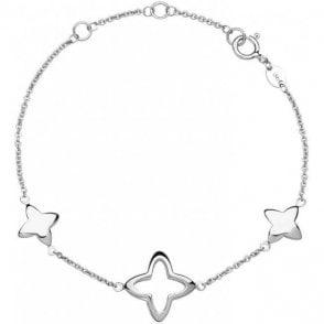 Splendour Sterling Silver Open Four-Point Star Station Bracelet