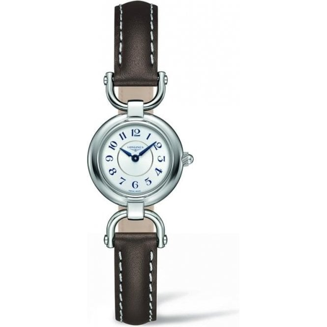 Longines Watches Longines Ladies Silver Dial and Brown Strap Equestrian Watch
