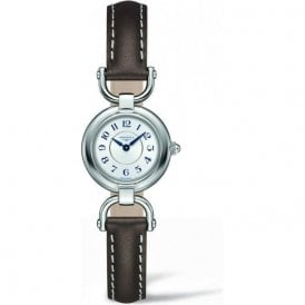 Longines Ladies Silver Dial and Brown Strap Equestrian Watch