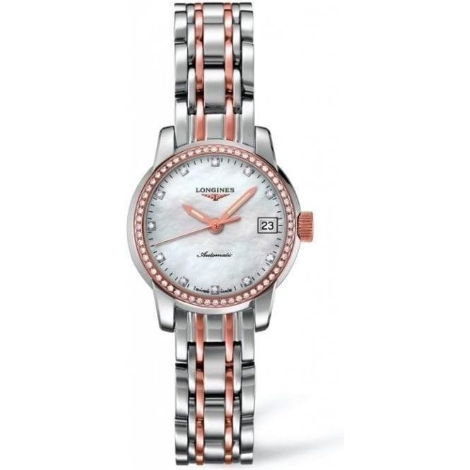 Longines Watches Ladies Steel and Rose Gold Diamond Set Saint-Imier Watch