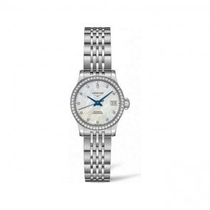 Ladies steel Longines Record automatic MOP diamond L2 320 0 876