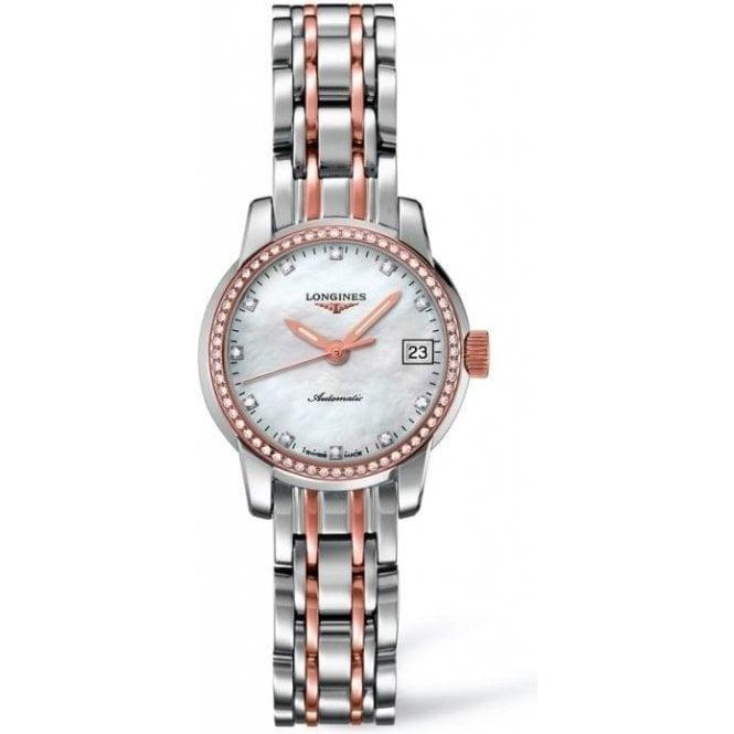 Longines Watches Ladies steel & rose diamond set Saint-Imier Watch L2 263 5 877
