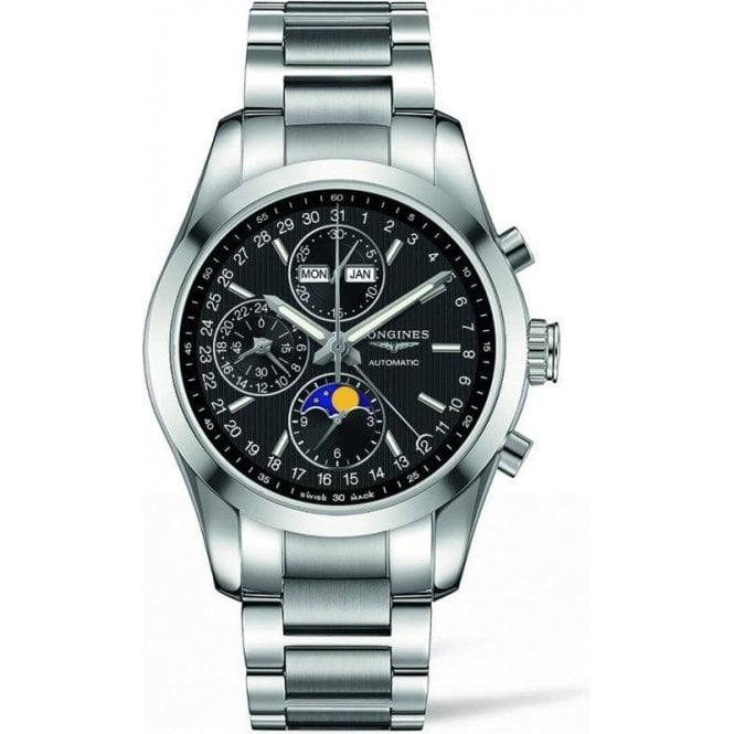 Longines Watches Mens black dial Conquest Classic moonphase  L2 798 4 526