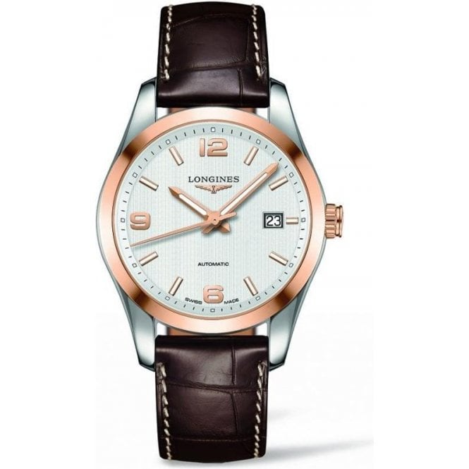 Longines Watches Mens brown leather strap Conquest Classic watch