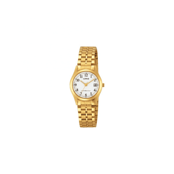 Lorus Ladies gold plated white dial bracelet watch,RH766AX9