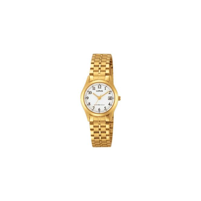 Lorus Ladies gold plated white dial bracelet watch,RH766AX9