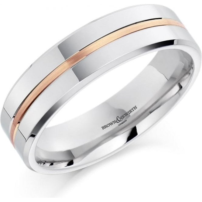 Mens Palladium Rose and White Wedding Ring 5mm
