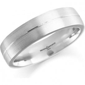 Mens Palladium Satin Finish Wedding Ring 5mm