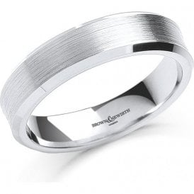Mens Palladium Satin Finish Wedding Ring 6mm