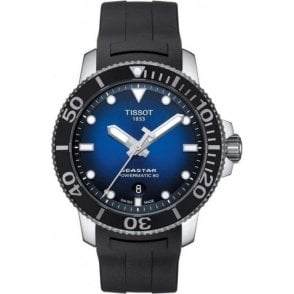Mens steel Tissot Seastar divers watch with graded blue dial.