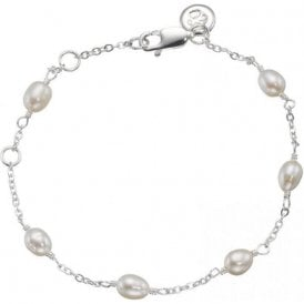 Molly Brown Silver Fresh Water Pearl Station Bracelet