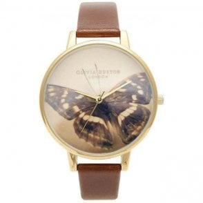 Olivia Burton Brown Butterfly Dial with Tan Strap