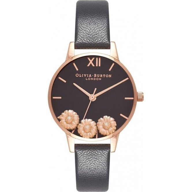 Olivia Burton Watches DANCING DAISY BLACK & ROSE GOLD OB16CH05