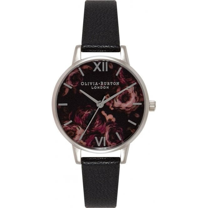 Olivia Burton Watches Olivia Burton Painterly Prints Midi Black and Silver Watch