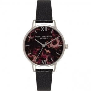 Olivia Burton Painterly Prints Midi Black and Silver Watch