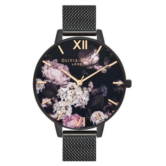 Olivia Burton Watches Signature Florals IP Black Mesh