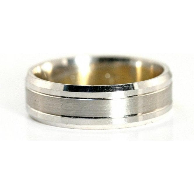 Palladium 6mm Gents Two Tone Wedding Ring