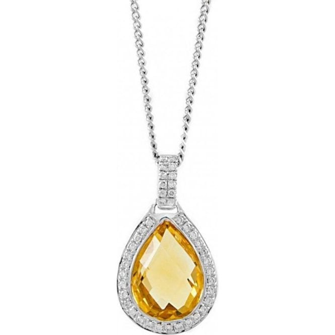 Pear Shaped Citrine & Diamond Pendant