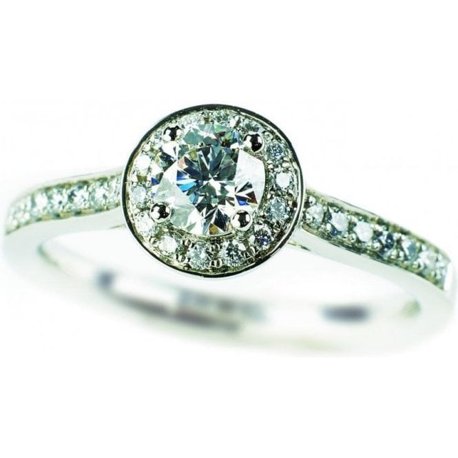 Platinum Diamond Cluster Ring with Diamond Set Shoulders