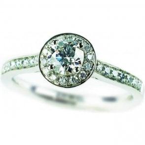 Platinum Diamond Cluster Ring with Diamond Set Shoulders