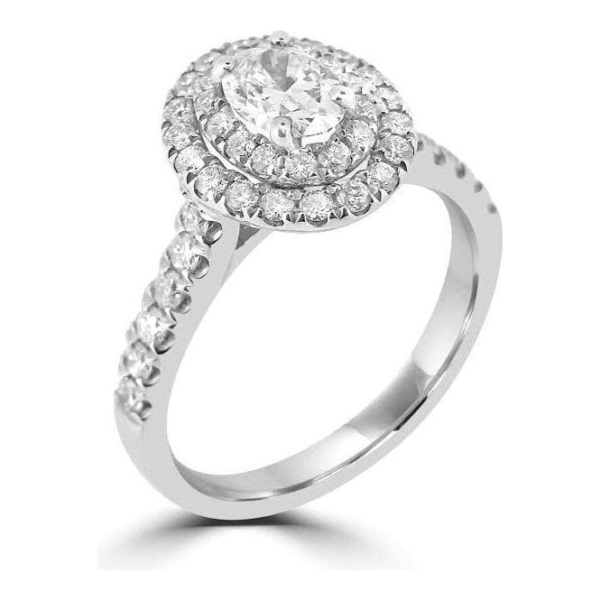 Platinum Diamond Oval Double Halo Ring