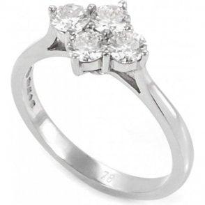Platinum Four Stone Claw Set Diamond Ring