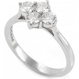 Platinum Four Stone Claw Set Diamond Ring