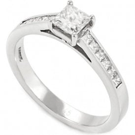 Platinum Single Stone Diamond Ring with diamond set shoulders