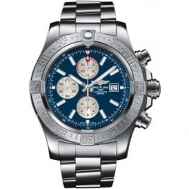 PRE OWNED Breitling Super Avenger automatic Chronograph with blue dial.