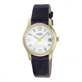 Rotary Ladies Gold Plated Mother of Pearl Watch