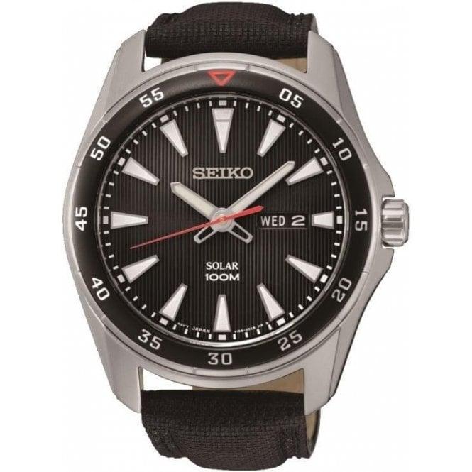 Seiko Watches Seiko mens black canvas strap solar powered watch SNE393P2