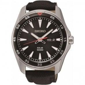 Seiko mens black canvas strap solar powered watch SNE393P2