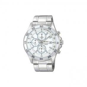 Seiko Mens Stainless Steel Alarm Chronograph Watch SNDA71P1