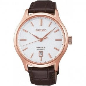 Gents steel rose plated Seiko Presage strap watch, SRPD42J1