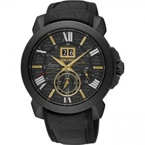 Gents steel black PVD Seiko premier Kinetic SNP145P1